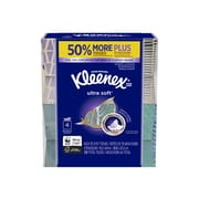 Kleenex Ultra Soft Standard Facial Tissue, 3-Ply, 75 Sheets/Box, 4 Boxes/Pack (25830)