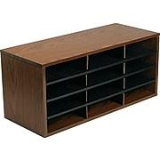 Fellowes 12 Compartments Literature Organizer, Medium Oak (25400)