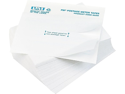 "PM Company Postage Meter Double Tape Inkjet Shipping Labels, 4"" x 5 1/2"", White, 2 Labels/Sheet, 75 Sheets/Pack (05204)"