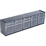 Deflect-O Interlocking Tilt Bin Plastic Compartment Storage, Black/Transparent (20504OP)