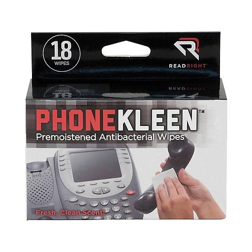 Read Right PhoneKleen Wipes/Cloths, 18/Box (TX1203)