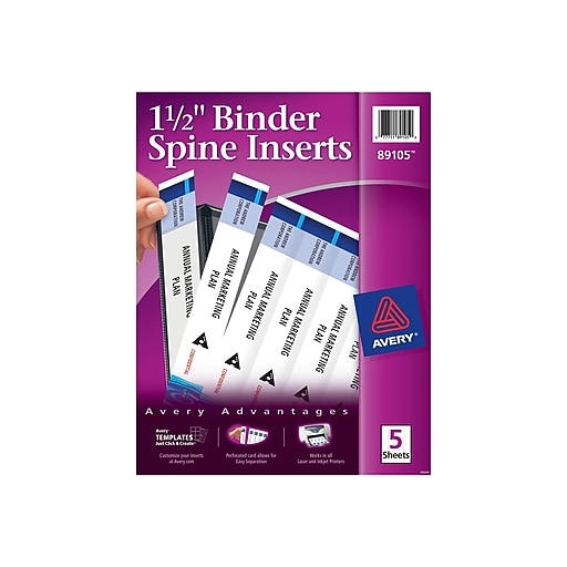 Shop Staples For Avery 1.5-Inch Binder Spine Inserts (89105