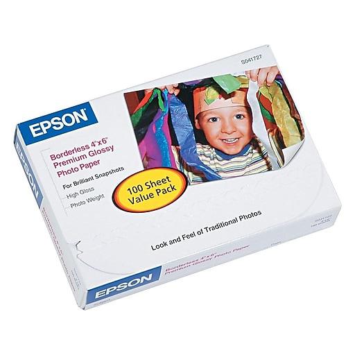 """Epson Premium Glossy Photo Paper, 4"""" x 6"""", 100/Pack (S041727)"""