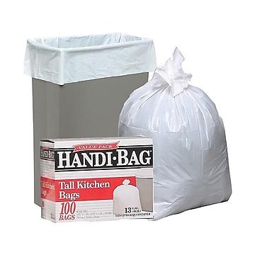 Webster Handi-Bag 13 Gal. Tall Kitchen Trash Bags, White, 100 Bags/Box (HAB6FK100-657498)