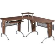 """Techni Mobili Deluxe 57""""W L-Shaped Desk, Mahogany (RTA-3806-M615)"""