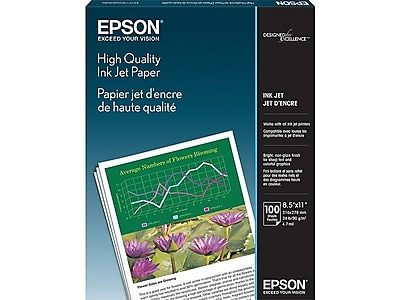 """Epson High Quality 8.5"""" x 11"""" Color Copy Paper, 24 lbs, 89 Brightness, 100/Pack (S041111)"""
