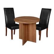 "Niche Mod 30"" Round Table- Warm Cherry and 2 Tyler Dining Chairs- Black/Cherry (NRT3029WC60CH2)"