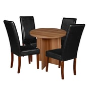 "Niche Mod 30"" Round Table- Warm Cherry and 4 Tyler Dining Chairs- Black/Cherry (NRT3029WC60CH4)"