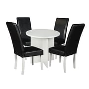 "Niche Mod 30"" Round Table- White Wood Grain and 4 Tyler Dining Chairs- Black/White (NRT3029WH60WH4)"