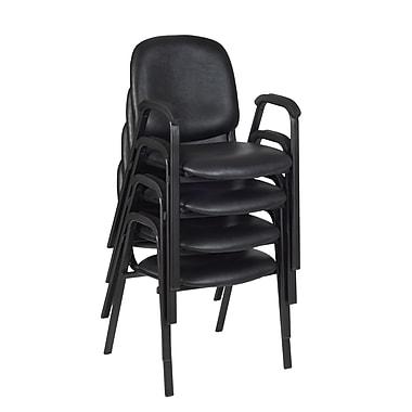 Regency Ace Vinyl Stack Chair 4/Pack, Black (2125LBK4PK)
