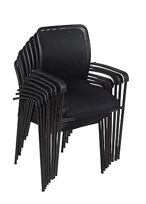 Regency Mario Stack Chair (8 pack)- Black (5275BK8PK)