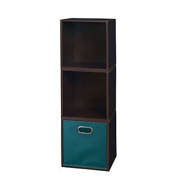 Niche Cubo Storage Set, 3 Cubes and 1 Canvas Bin, Truffle/Teal (PC3PKTF1TOTETL)