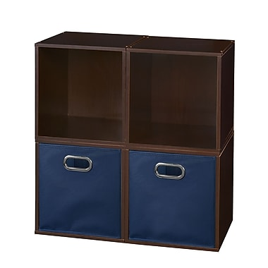 Niche Cubo Storage Set, 4 Cubes and 2 Canvas Bins, Truffle/Blue (PC4PKTF2TOTEBE)