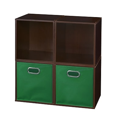 Niche Cubo Storage Set, 4 Cubes and 2 Canvas Bins, Truffle/Green (PC4PKTF2TOTEGN)