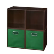 Niche Cubo Storage Set - 4 Cubes and 2 Canvas Bins- Truffle/Green (PC4PKTF2TOTEGN)