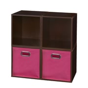 Niche Cubo Storage Set - 4 Cubes and 2 Canvas Bins- Truffle/Pink (PC4PKTF2TOTEPK)