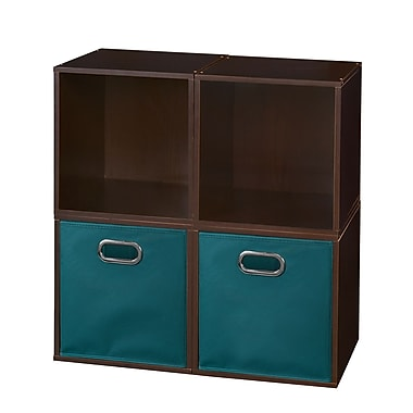 Niche Cubo Storage Set, 4 Cubes and 2 Canvas Bins, Truffle/Teal (PC4PKTF2TOTETL)