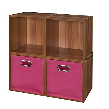 Niche Cubo Storage Set, 4 Cubes and 2 Canvas Bins, Warm Cherry/Pink (PC4PKWC2TOTEPK)