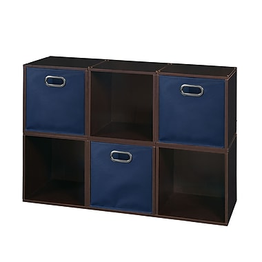 Niche Cubo Storage Set, 6 Cubes and 3 Canvas Bins, Truffle/Blue (PC6PKTF3TOTEBE)