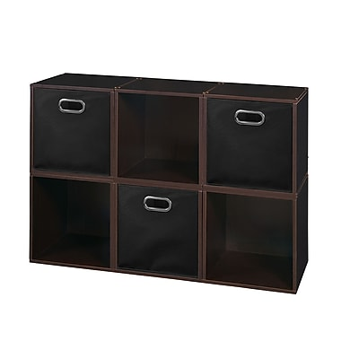 Niche Cubo Storage Set, 6 Cubes and 3 Canvas Bins, Truffle/Black (PC6PKTF3TOTEBK)