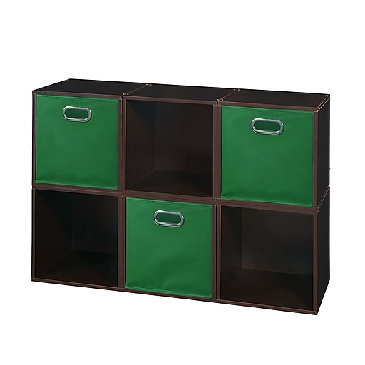Niche Cubo Storage Set - 6 Cubes and 3 Canvas Bins- Truffle/Green (PC6PKTF3TOTEGN)