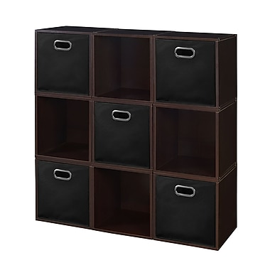 Niche Cubo Storage Set, 9 Cubes and 5 Canvas Bins, Truffle/Black (PC9PKTF5TOTEBK)