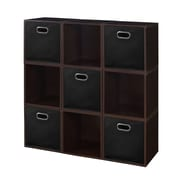 Niche Cubo Storage Set - 9 Cubes and 5 Canvas Bins- Truffle/Black (PC9PKTF5TOTEBK)