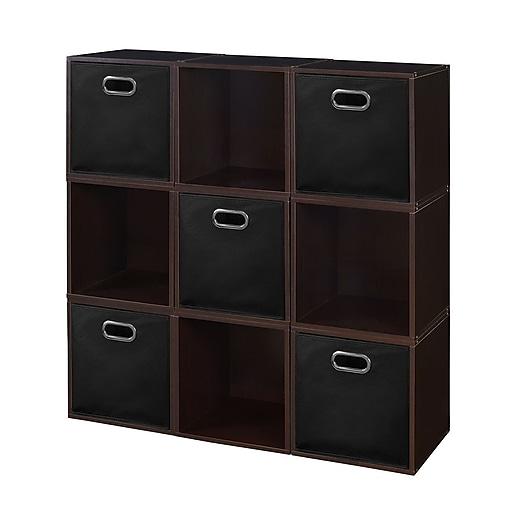 Niche Cubo Storage Set - 9 Cubes and 5 Canvas Bins- Truffle/Black (PC9PKTF5TOTEBK)