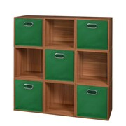 Niche Cubo Storage Set - 9 Cubes and 5 Canvas Bins- Warm Cherry/Green (PC9PKWC5TOTEGN)