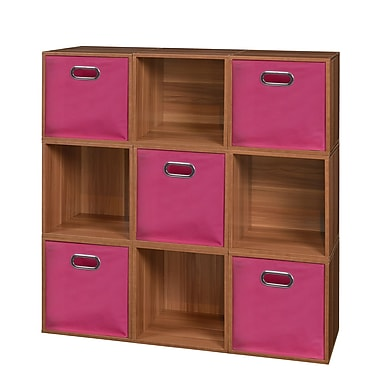 Niche Cubo Storage Set, 9 Cubes and 5 Canvas Bins, Warm Cherry/Pink (PC9PKWC5TOTEPK)