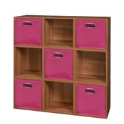 Niche Cubo Storage Set - 9 Cubes and 5 Canvas Bins- Warm Cherry/Pink (PC9PKWC5TOTEPK)