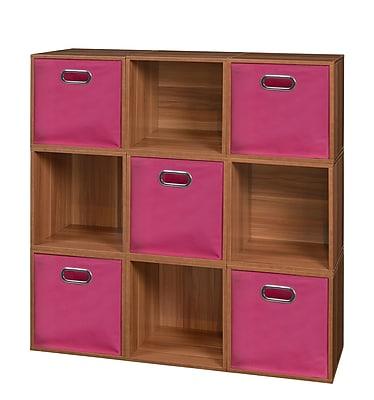 Niche Cubo Storage Set - 9 Cubes and 5 Canvas Bins- Warm Cherry/Pink (PC9PKWC5TOTEPK)
