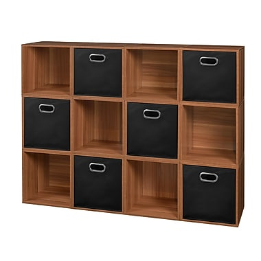 Niche Cubo Storage Set, 12 Cubes and 6 Canvas Bins, Warm Cherry/Black (PC12PKWC6TOTEBK)