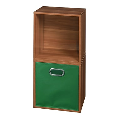 Niche Cubo Storage Set, 2 Cubes and 1 Canvas Bin, Warm Cherry/Green (PC2PKWC1TOTEGN)