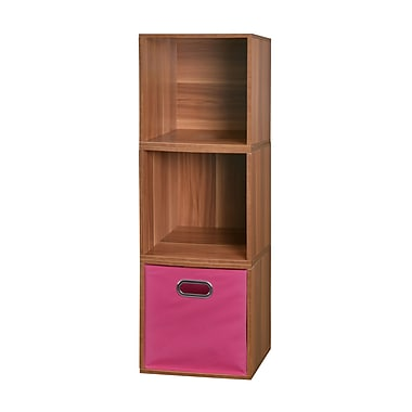 Niche Cubo Storage Set, 3 Cubes and 1 Canvas Bin, Warm Cherry/Pink (PC3PKWC1TOTEPK)