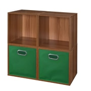 Niche Cubo Storage Set - 4 Cubes and 2 Canvas Bins- Warm Cherry/Green (PC4PKWC2TOTEGN)