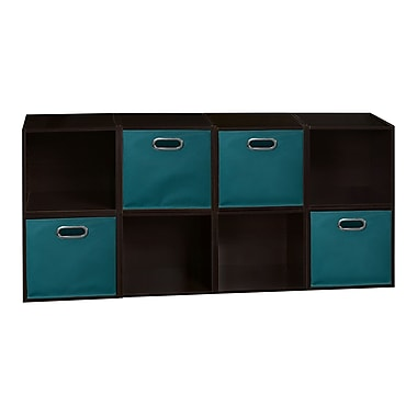 Niche Cubo Storage Set, 8 Cubes and 4 Canvas Bins, Truffle/Teal (PC8PKTF4TOTETL)