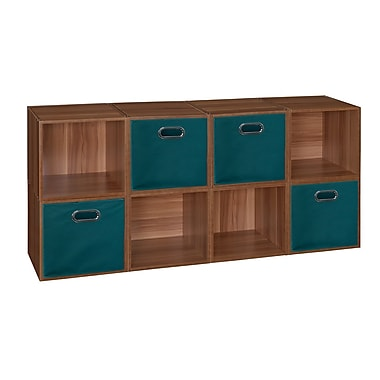 Niche Cubo Storage Set, 8 Cubes and 4 Canvas Bins, Warm Cherry/Teal (PC8PKWC4TOTETL)