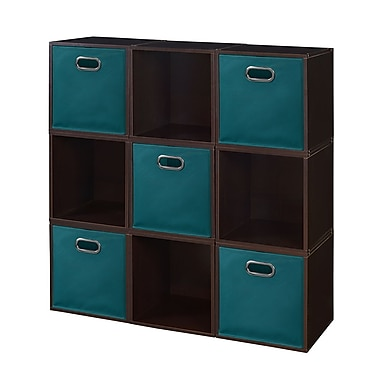 Niche Cubo Storage Set, 9 Cubes and 5 Canvas Bins, Truffle/Teal (PC9PKTF5TOTETL)