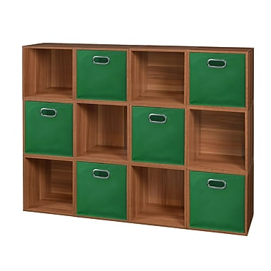 Niche Cubo Storage Set, 12 Cubes and 6 Canvas Bins, Warm Cherry/Green (PC12PKWC6TOTEGN)
