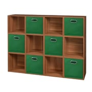 Niche Cubo Storage Set - 12 Cubes and 6 Canvas Bins- Warm Cherry/Green (PC12PKWC6TOTEGN)