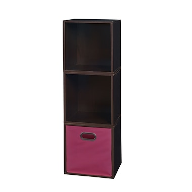 Niche Cubo Storage Set, 3 Cubes and 1 Canvas Bin, Truffle/Pink (PC3PKTF1TOTEPK)