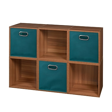 Niche Cubo Storage Set, 6 Cubes and 3 Canvas Bins, Warm Cherry/Teal (PC6PKWC3TOTETL)