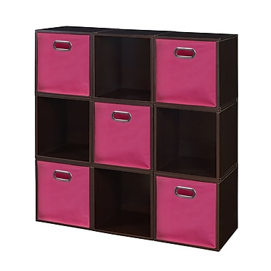Niche Cubo Storage Set, 9 Cubes and 5 Canvas Bins, Truffle/Pink (PC9PKTF5TOTEPK)