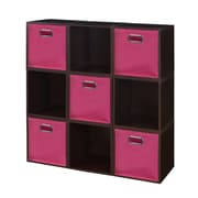 Niche Cubo Storage Set - 9 Cubes and 5 Canvas Bins- Truffle/Pink (PC9PKTF5TOTEPK)
