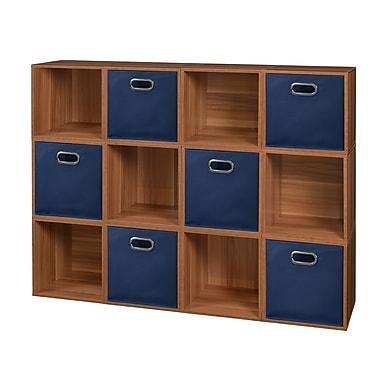 Niche Cubo Storage Set, 12 Cubes and 6 Canvas Bins, Warm Cherry/Blue (PC12PKWC6TOTEBE)