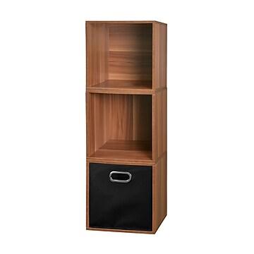 Niche Cubo Storage Set - 3 Cubes and 1 Canvas Bin- Warm Cherry/Black