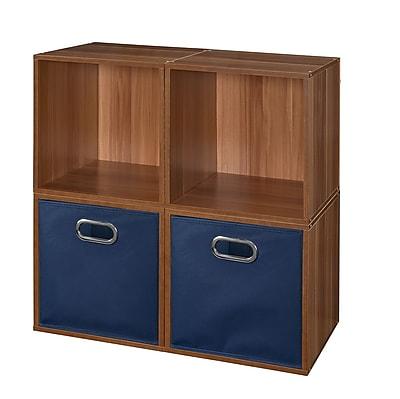 Niche Cubo Storage Set - 4 Cubes and 2 Canvas Bins- Warm Cherry/Blue (PC4PKWC2TOTEBE)