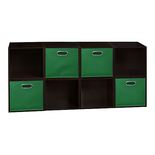 Niche Cubo Storage Set - 8 Cubes and 4 Canvas Bins- Truffle/Green (PC8PKTF4TOTEGN)