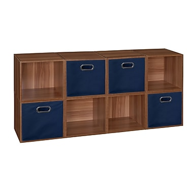 Niche Cubo Storage Set, 8 Cubes and 4 Canvas Bins, Warm Cherry/Blue (PC8PKWC4TOTEBE)